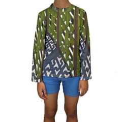 Shadow Reflections Casting From Japanese Garden Fence Kids  Long Sleeve Swimwear