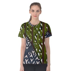 Shadow Reflections Casting From Japanese Garden Fence Women s Cotton Tee