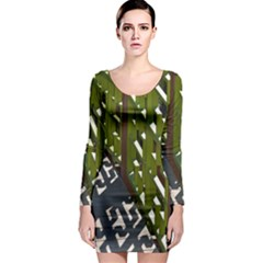 Shadow Reflections Casting From Japanese Garden Fence Long Sleeve Bodycon Dress