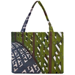 Shadow Reflections Casting From Japanese Garden Fence Mini Tote Bag