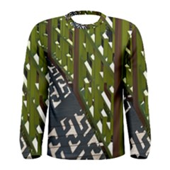 Shadow Reflections Casting From Japanese Garden Fence Men s Long Sleeve Tee