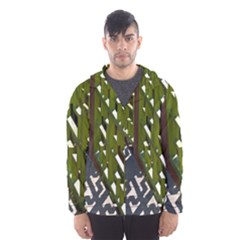 Shadow Reflections Casting From Japanese Garden Fence Hooded Wind Breaker (Men)