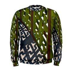 Shadow Reflections Casting From Japanese Garden Fence Men s Sweatshirt