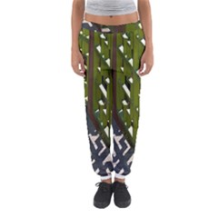 Shadow Reflections Casting From Japanese Garden Fence Women s Jogger Sweatpants