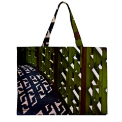 Shadow Reflections Casting From Japanese Garden Fence Zipper Mini Tote Bag