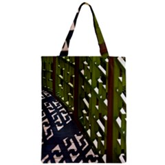 Shadow Reflections Casting From Japanese Garden Fence Zipper Classic Tote Bag