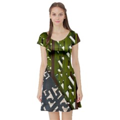 Shadow Reflections Casting From Japanese Garden Fence Short Sleeve Skater Dress