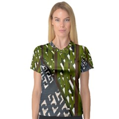 Shadow Reflections Casting From Japanese Garden Fence Women s V Neck Sport Mesh Tee