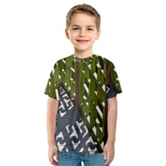 Shadow Reflections Casting From Japanese Garden Fence Kids  Sport Mesh Tee