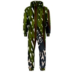 Shadow Reflections Casting From Japanese Garden Fence Hooded Jumpsuit (Men)