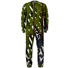 Shadow Reflections Casting From Japanese Garden Fence OnePiece Jumpsuit (Men)
