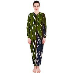 Shadow Reflections Casting From Japanese Garden Fence OnePiece Jumpsuit (Ladies)