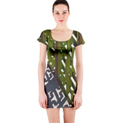 Shadow Reflections Casting From Japanese Garden Fence Short Sleeve Bodycon Dress