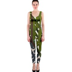 Shadow Reflections Casting From Japanese Garden Fence Onepiece Catsuit