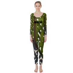Shadow Reflections Casting From Japanese Garden Fence Long Sleeve Catsuit