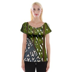 Shadow Reflections Casting From Japanese Garden Fence Women s Cap Sleeve Top