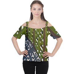Shadow Reflections Casting From Japanese Garden Fence Women s Cutout Shoulder Tee