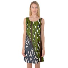 Shadow Reflections Casting From Japanese Garden Fence Sleeveless Satin Nightdress