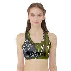 Shadow Reflections Casting From Japanese Garden Fence Sports Bra With Border