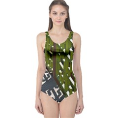 Shadow Reflections Casting From Japanese Garden Fence One Piece Swimsuit