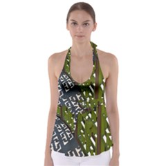Shadow Reflections Casting From Japanese Garden Fence Babydoll Tankini Top