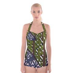 Shadow Reflections Casting From Japanese Garden Fence Boyleg Halter Swimsuit