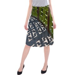 Shadow Reflections Casting From Japanese Garden Fence Midi Beach Skirt