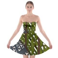 Shadow Reflections Casting From Japanese Garden Fence Strapless Bra Top Dress