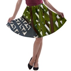 Shadow Reflections Casting From Japanese Garden Fence A-line Skater Skirt