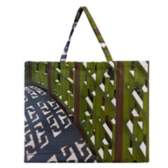 Shadow Reflections Casting From Japanese Garden Fence Zipper Large Tote Bag