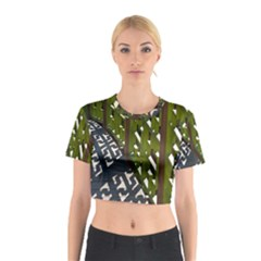 Shadow Reflections Casting From Japanese Garden Fence Cotton Crop Top