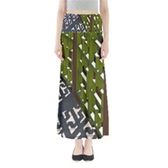 Shadow Reflections Casting From Japanese Garden Fence Maxi Skirts