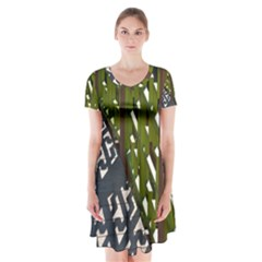 Shadow Reflections Casting From Japanese Garden Fence Short Sleeve V Neck Flare Dress