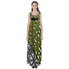 Shadow Reflections Casting From Japanese Garden Fence Empire Waist Maxi Dress