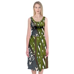 Shadow Reflections Casting From Japanese Garden Fence Midi Sleeveless Dress
