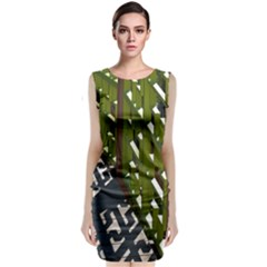 Shadow Reflections Casting From Japanese Garden Fence Classic Sleeveless Midi Dress