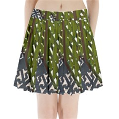 Shadow Reflections Casting From Japanese Garden Fence Pleated Mini Skirt