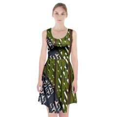 Shadow Reflections Casting From Japanese Garden Fence Racerback Midi Dress