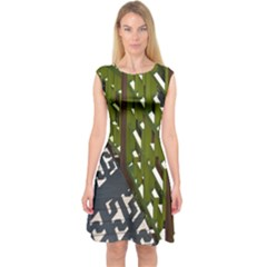 Shadow Reflections Casting From Japanese Garden Fence Capsleeve Midi Dress