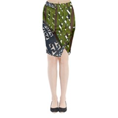 Shadow Reflections Casting From Japanese Garden Fence Midi Wrap Pencil Skirt