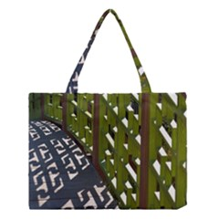 Shadow Reflections Casting From Japanese Garden Fence Medium Tote Bag