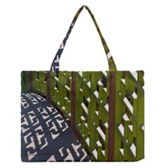 Shadow Reflections Casting From Japanese Garden Fence Medium Zipper Tote Bag