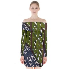 Shadow Reflections Casting From Japanese Garden Fence Long Sleeve Off Shoulder Dress