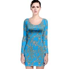 Seamless Pattern Background Seamless Long Sleeve Velvet Bodycon Dress