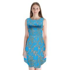 Seamless Pattern Background Seamless Sleeveless Chiffon Dress