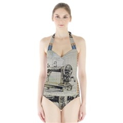 Sewing  Halter Swimsuit