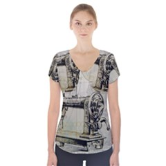 Sewing  Short Sleeve Front Detail Top