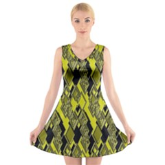 Seamless Pattern Background Seamless V Neck Sleeveless Skater Dress