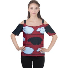 Sheep Women s Cutout Shoulder Tee