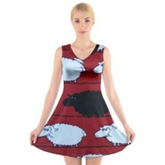 Sheep V Neck Sleeveless Skater Dress